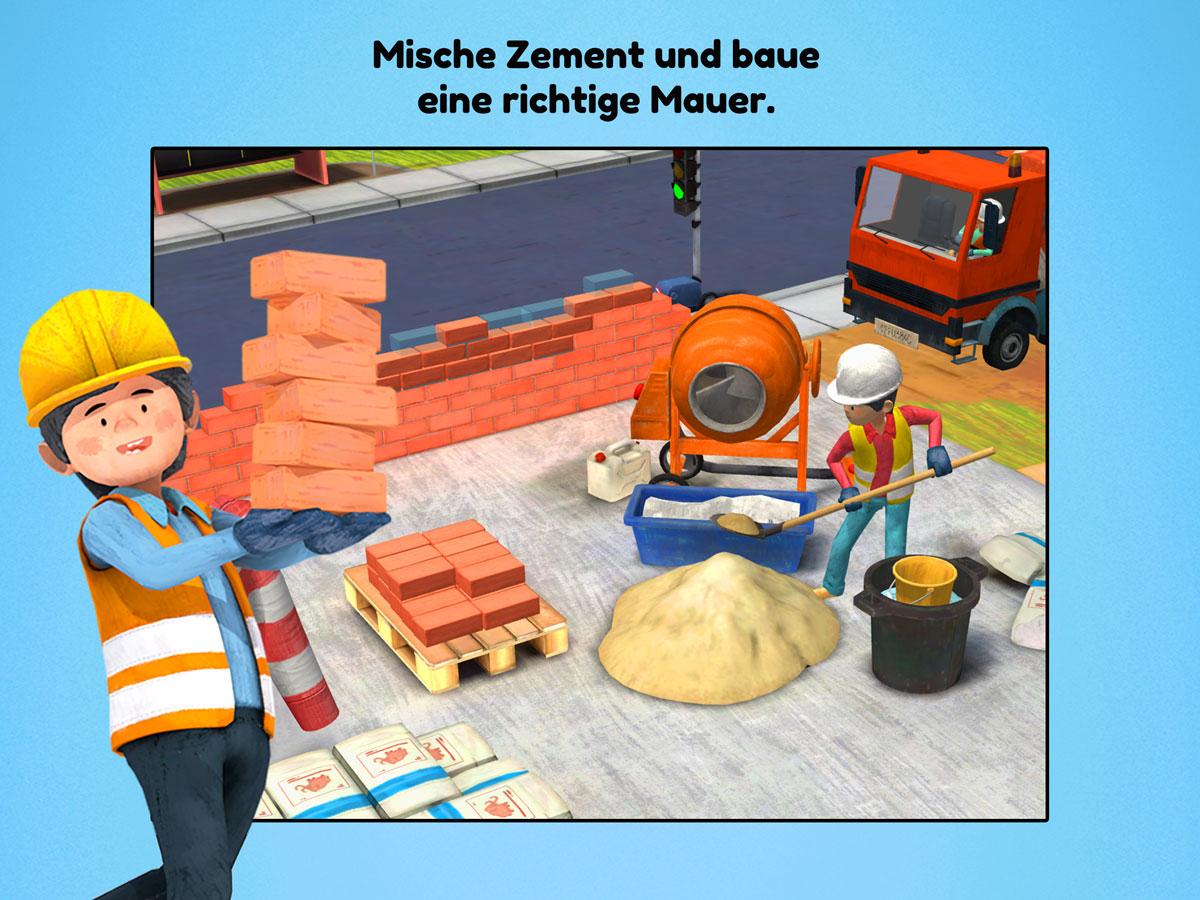 Kleine Bauarbeiter 3D Kinder Spiele App – Mische Zement und baue eine richtige Mauer