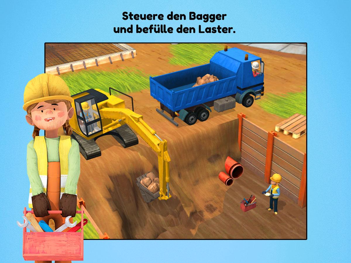 Kleine Bauarbeiter 3D Kinder Spiele App – Steuere den Bagger und befülle Laster
