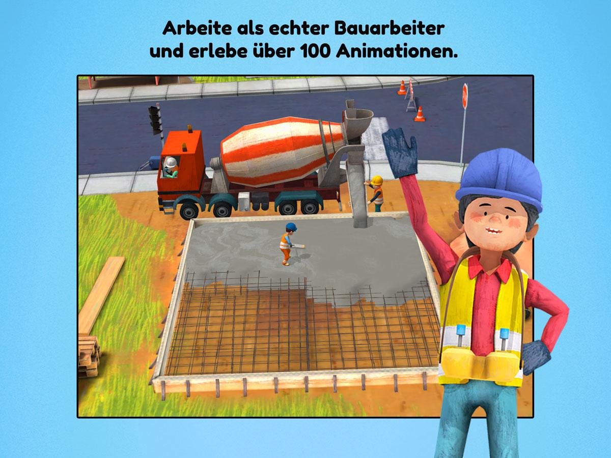 Kleine Bauarbeiter 3D Kinder Spiele App – arbeite auf einer echten Baustelle
