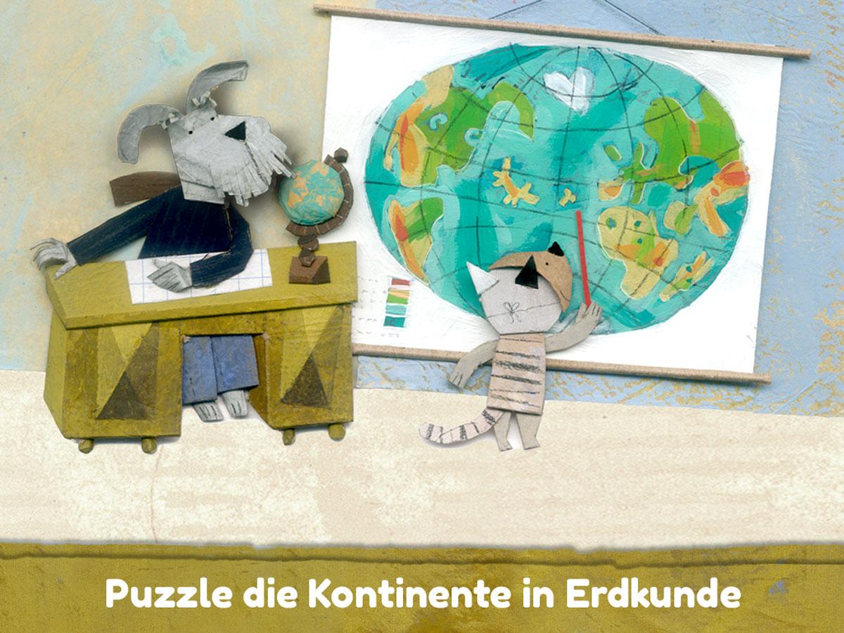 Lucy & Pogo App für Kinder – Puzzle die Kontinente im Erdkunde Mini Game