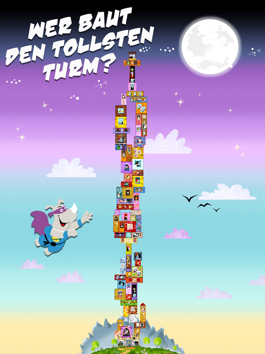 Rhino Hero Action Spiele App für ältere Kinder – wer baut den tollsten Turm?
