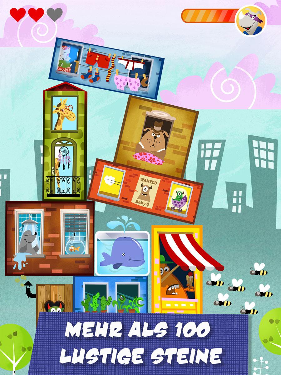 Rhino Hero Action Spiele App für Kinder – baue den höchsten Turm aus über 100 lustige Steinen
