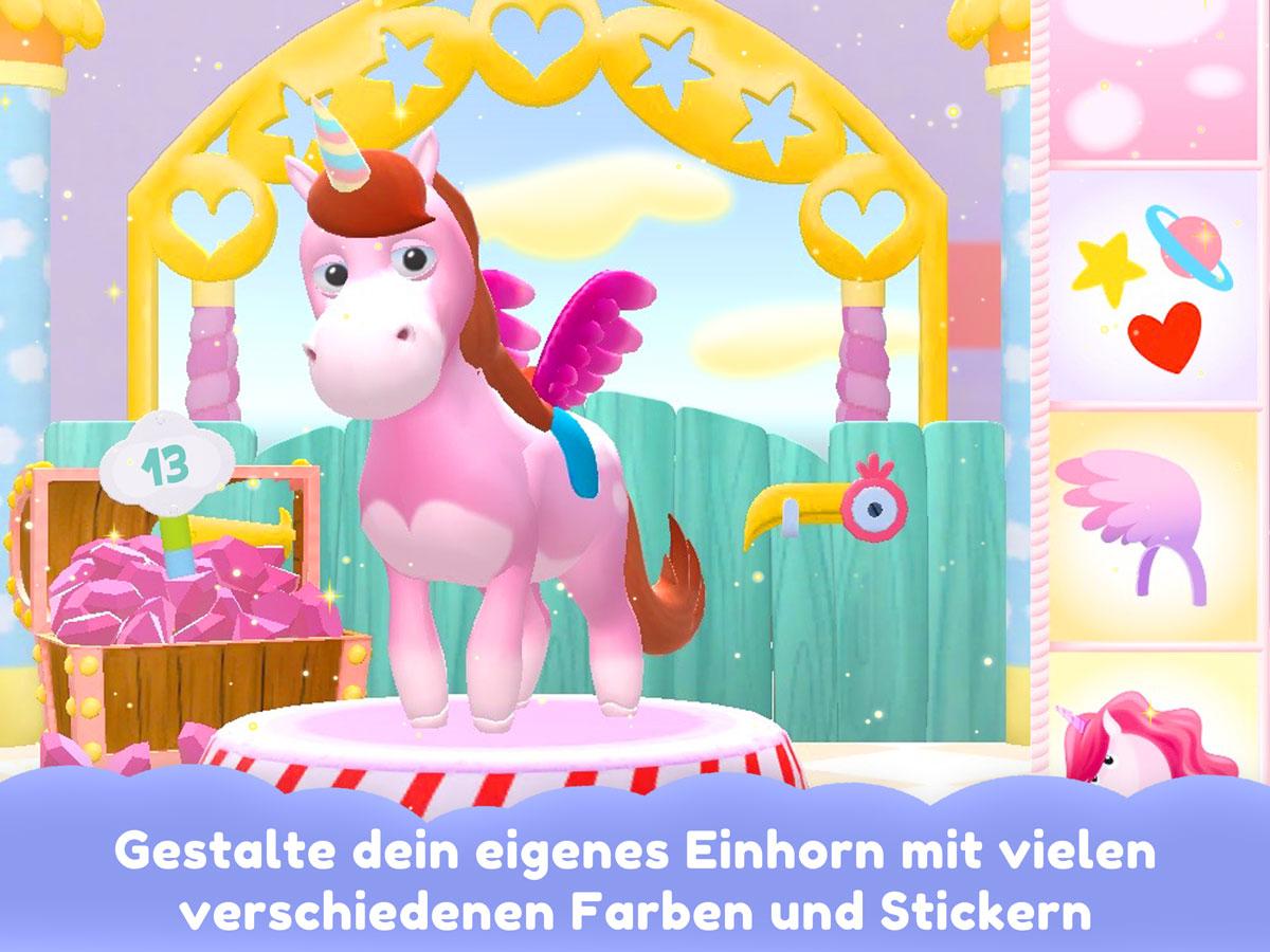Einhorn Glitzerglück 3D Kinder Spiele App – Gestalte dein eigenes Einhorn mit vielen Farben und Stickern