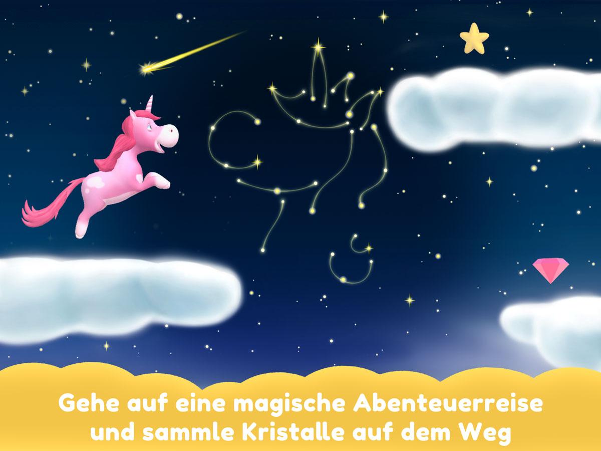Einhorn Glitzerglück 3D Spiele App für Kinder – Gehe auf ein magisches Abenteuer und sammle Kristalle