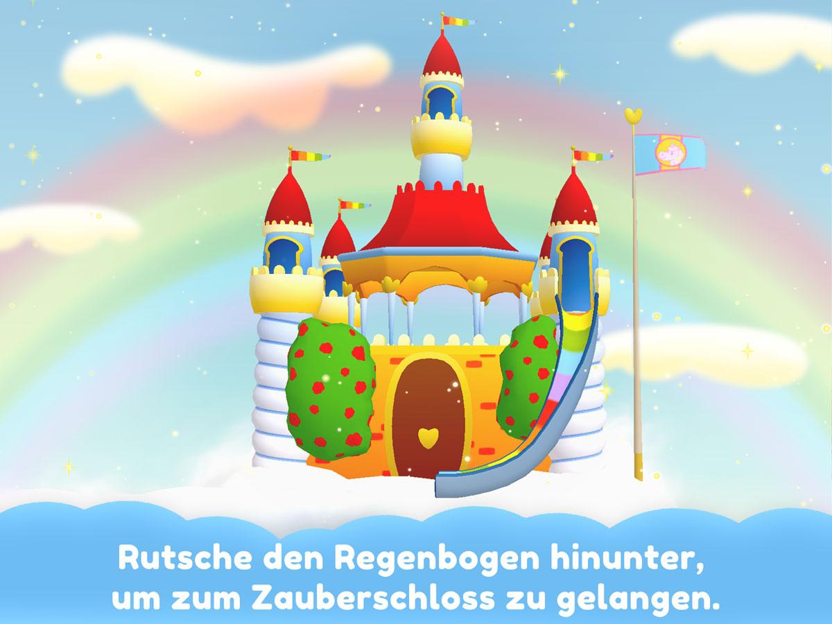 Einhorn Glitzerglück 3D Kinder Spiele App – Rutsche den Regenbogen hinunter um zum Zauberschloss zu gelangen