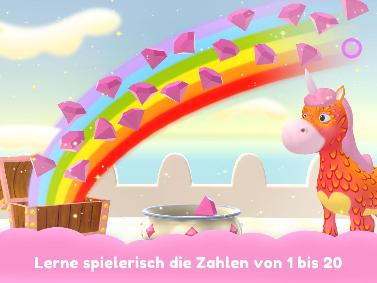 Einhorn Glitzerglück 3D Kinder Spiele App – Lerne spielerisch die Zahlen von 1 bis 20