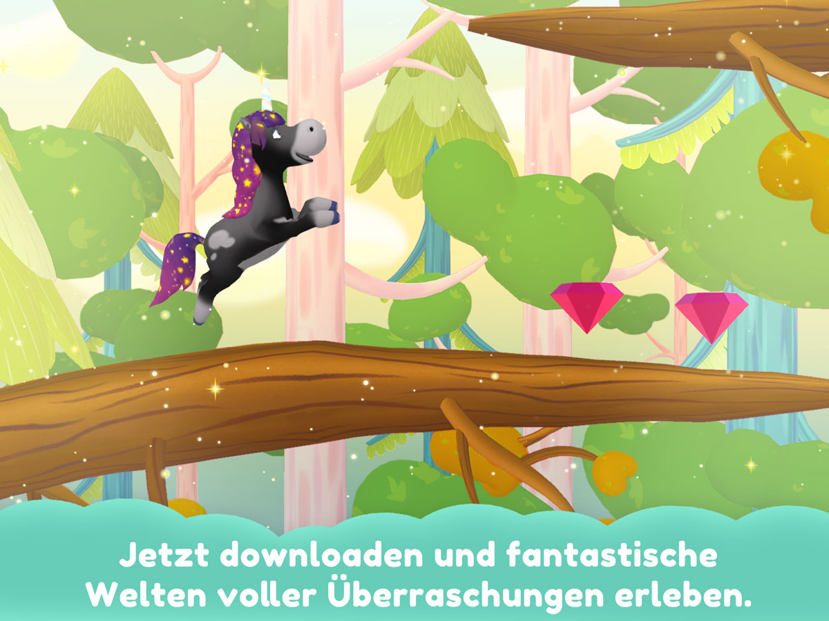 Einhorn Glitzerglück 3D Kinder Spiele App – entdecke fantastische Welten voller Überraschungen