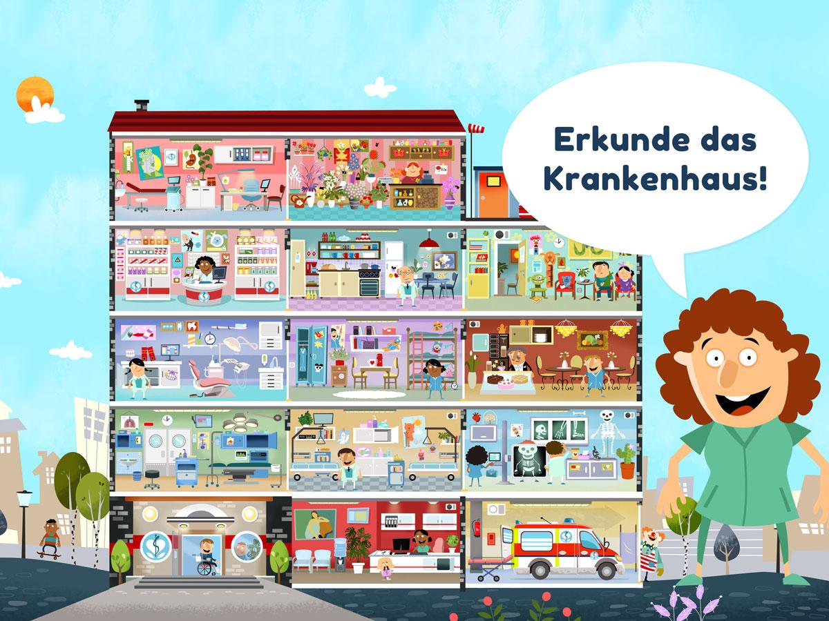 Kleines Krankenhaus Kinder App – erkunde das Krankenhaus-Gebäude