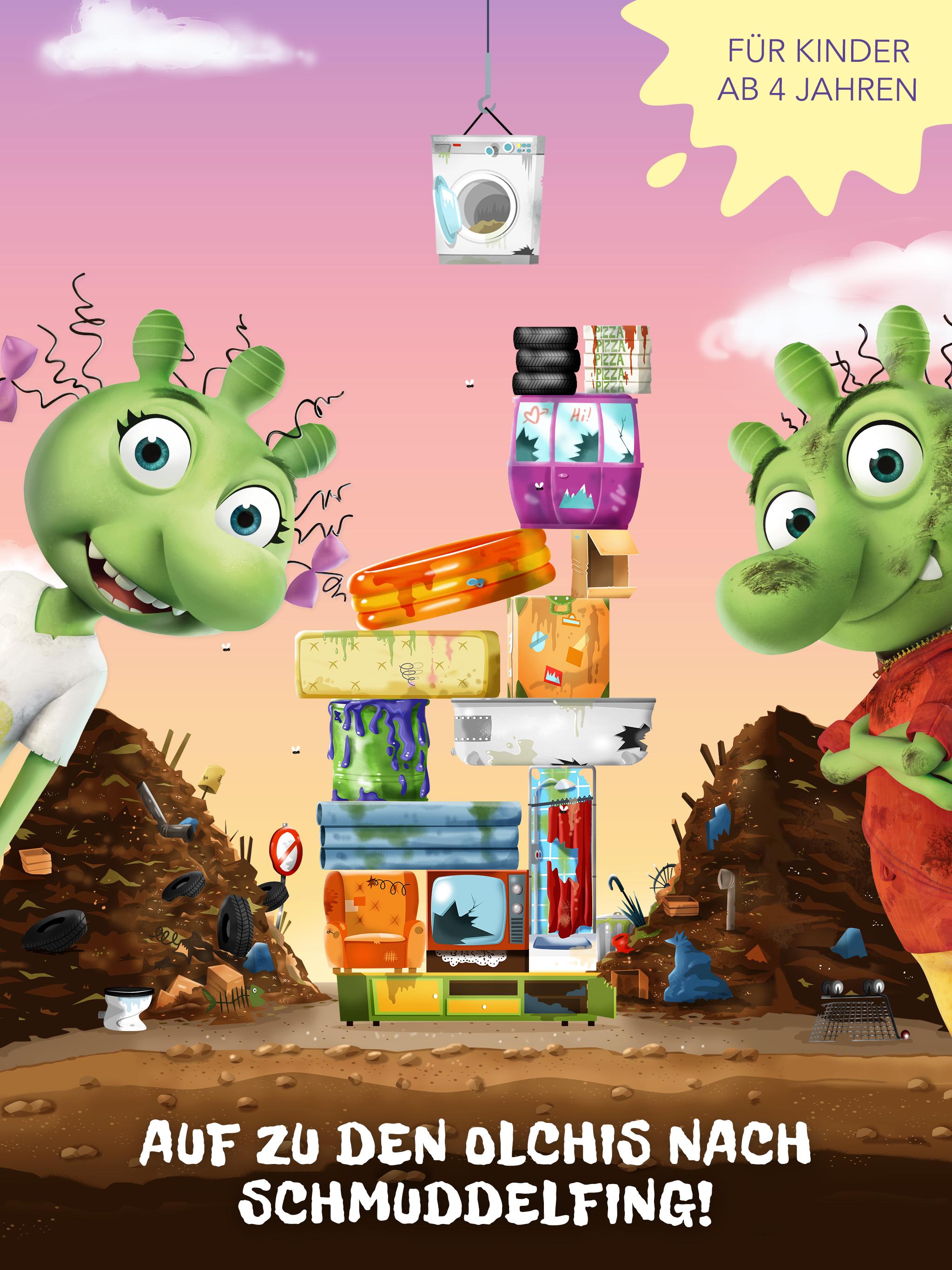 Die Olchis App für Kinder – Baue den höchsten Müll-Turm!